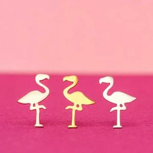 Jewelry - Rose Gold Plated Flamingo Stud Earrings